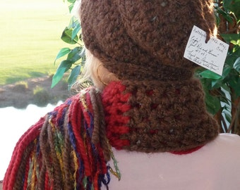 Crochet hat scarf brown red women's winter accessories women's fashion