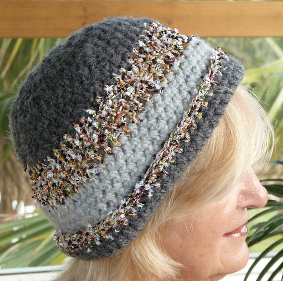 Woman's Crochet Gray Winter Hat - Handmade Original