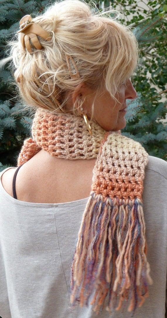 Crochet winter scarf orange women's scarf bohemian accessories