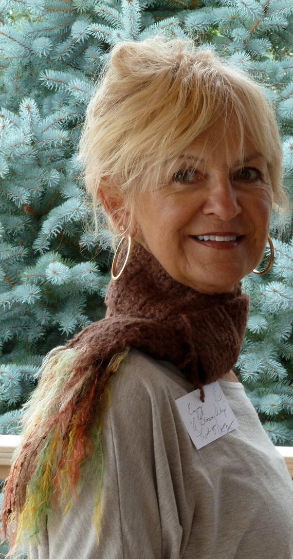 Bohemian Accessories Women Brown Crochet Scarf