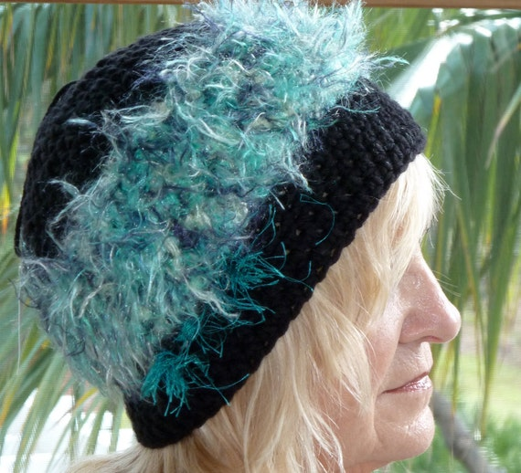 Black Crochet Woman Hat - Winter Accessories  - Black and Turquoise