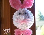 Crochet Bunny Door Knob Cover with Pink Ears and Pink Bowtie