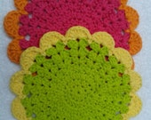 Crochet Green and Pink Washcloths - Set of Two