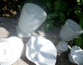 Set of Six Milk Glass Mixed Pieces - Candle Holders, Votive, Candy, Compote, Vase Vintage White Wedding Collection