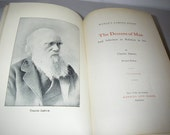 1800s Charles Darwin - Descent Of Man - World's Famous Books Series Illustrated Hardcover Antique Book