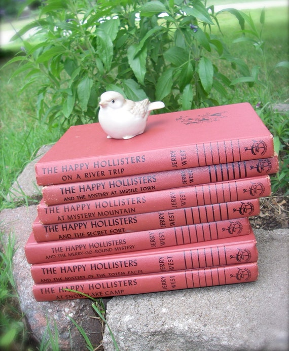 SALE - Vintage Happy Hollisters Set of 7 Hardcover 1950's Collection of Red Children's Series Books