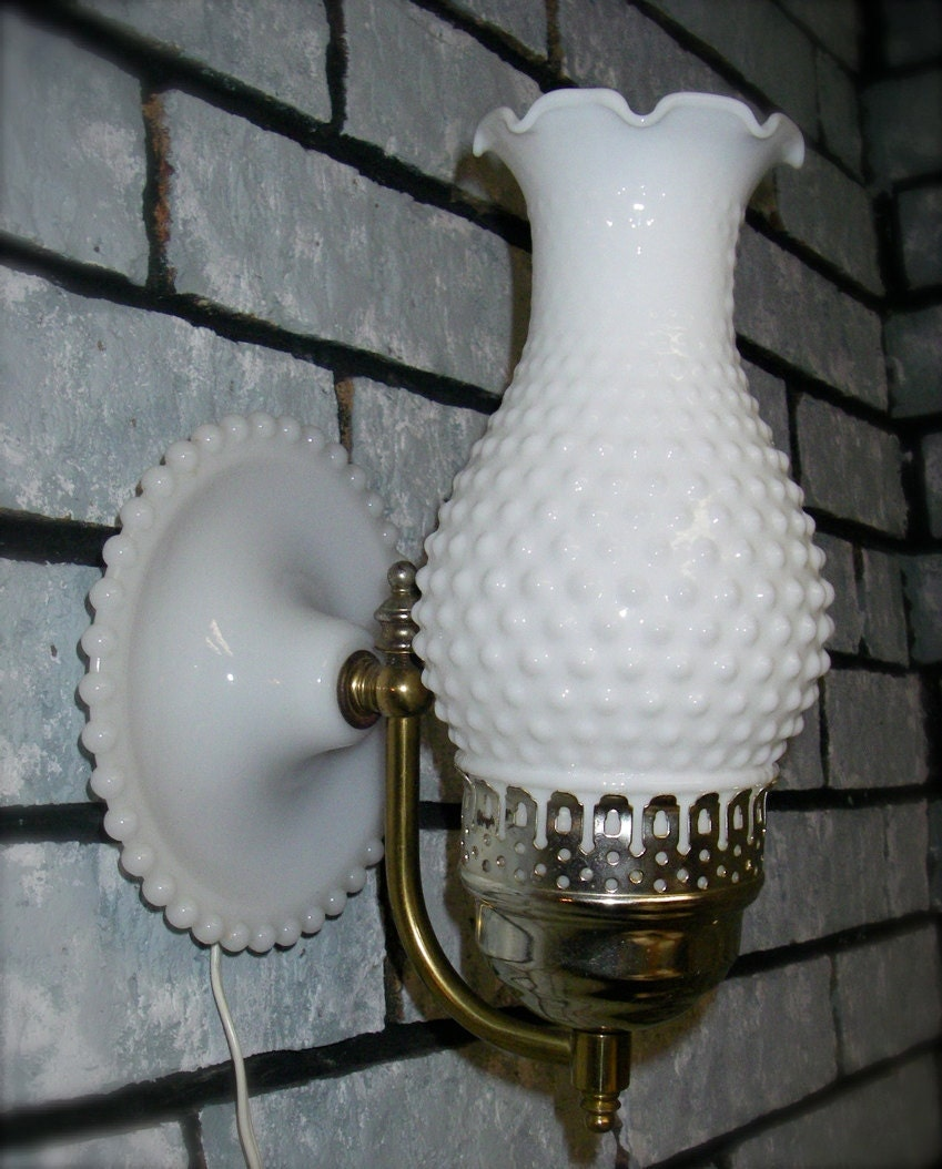 Milk Glass Wall Lamps : Vintage White Hobnail Milk Glass Hurricane Electric Wall Lamp