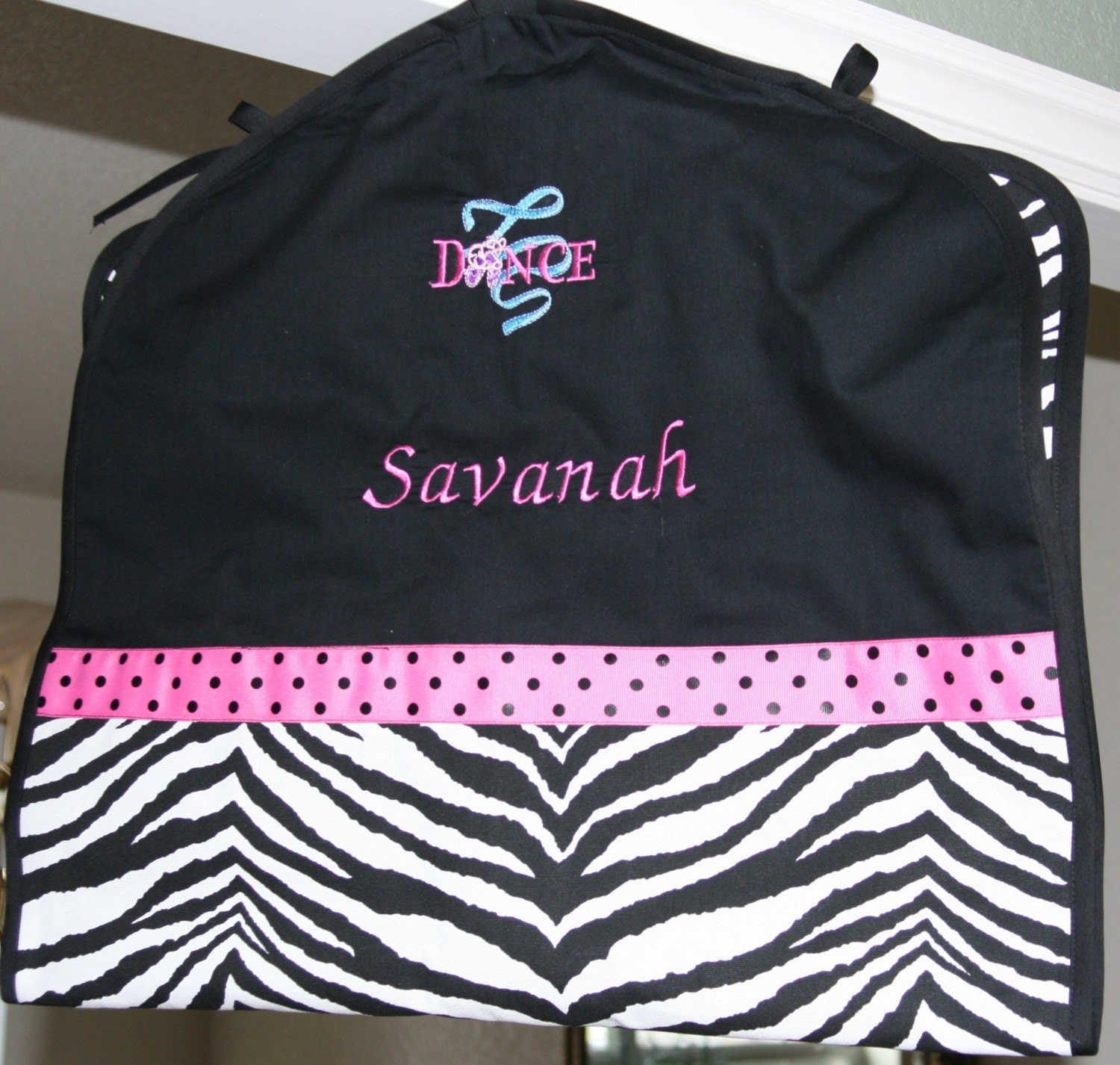 Dance Cheer Zebra Print Garment Bag Personalized Monogrammed