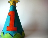 Turquoise Birthday Party Hat--Custom Made