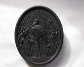 Victorian Mourning Brooch - Pressed Horn