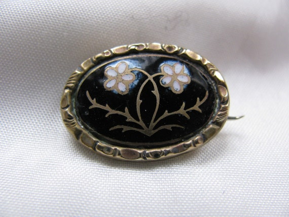 Victorian Mourning Brooch Forget Me Not