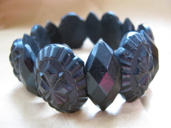 Victorian Mourning Bracelet of Pressed Horn