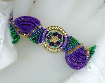 Macrame Fan Bracelet, Mardi Gras purple, green, gold beaded micro macrame adjustable Bracelet