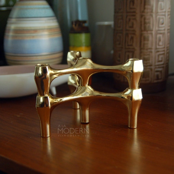 2 Nagel Style Modular Metal Candleholders Gold-Tone Modern