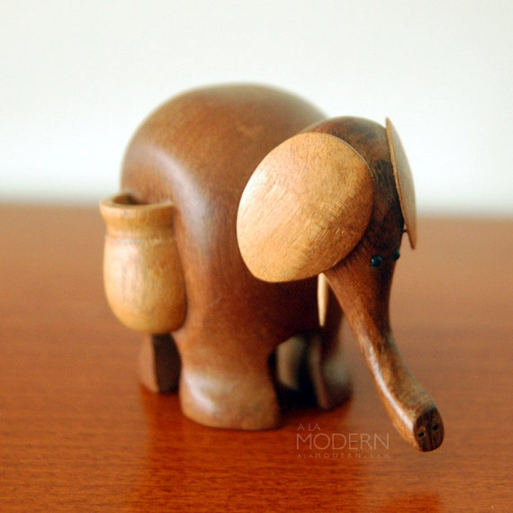 Teak Modern Elephant Bolling Bojesen Style Wooden Toy