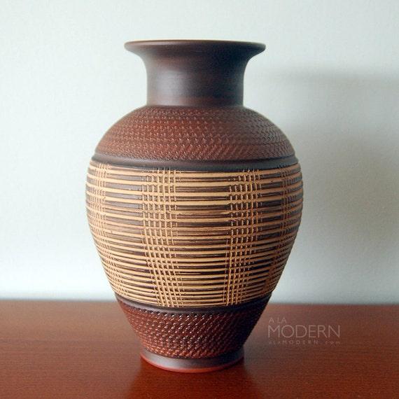 Wekara West German Sgraffito Brown Vase