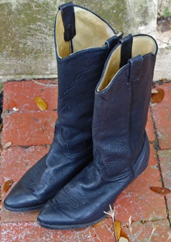 size 8 soft black leather womens cowboy boots