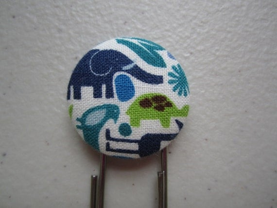 Elephant and Turtle Bookmark - Fabric Cover Button Jumbo Paperclip Book Mark - Alexander Henry - 2D Zoo Blue