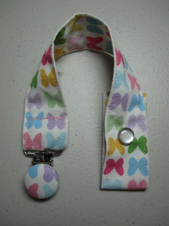 Beautiful Butterflies Fabric Pacifier Clip - Ann Kelle - Remix Spring - Baby Girl - Embellished Suspender Clip