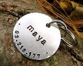 Custom Pet ID Tag - Maya - in 1.25'' in Brushed Aluminum