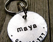 Pet ID Tag / Dog Tag- Maya - Custom 1.25'' in Brushed Aluminum