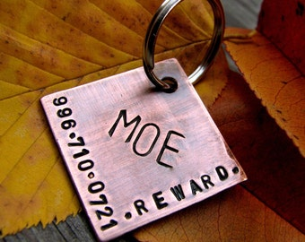 Custom Dog Tag / Cat Tag / Pet ID Tag - Moe - in 1'' Brushed Copper
