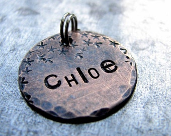 Custom Cat Tag / Dog Tag / Pet ID tag, in 3/4'' Weathered Bronze