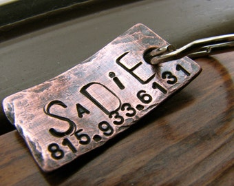 Custom Dog Tag / Cat Tag - Sadie - in Weathered Copper