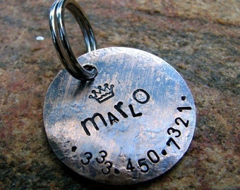 Custom Pet ID Tag, Marlo, in Weathered Copper
