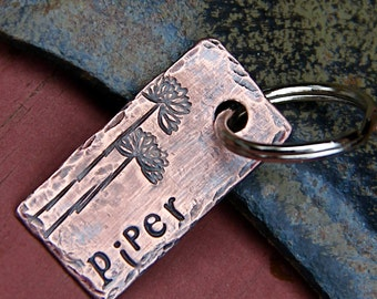 Custom Pet ID Tag - Piper - in Weathered Copper
