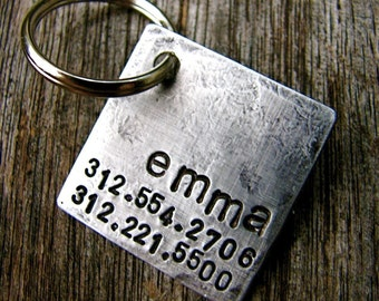 Custom Dog ID / Cat ID Tag, Emma, in 1'' Distressed Aluminum