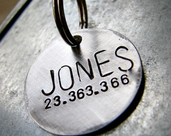 Custom Dog Tag / Pet ID Tag, Jones, in 1'' Brushed Aluminum