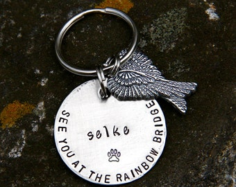 Pet Memorial ID Tag - Custom Stamped For Your Fallen Angel in 1.25'' Brushed Nickel