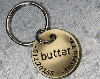 Custom Dog Tag / Pet ID Tag - Butter - in 1'' Brushed Brass