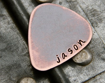 Custom Guitar Pick in Handstamped Copper
