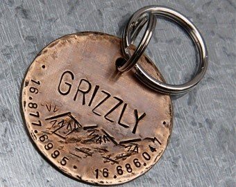 Custom Dog ID Tag, Grizzly, in XL 1.5'' Distressed Bronze