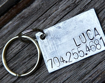 Custom Pet ID tag - Luca - in Weathered Aluminum