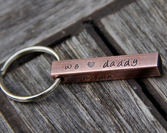 Custom Stamped 'We Love Daddy' Keychain in Copper - Perfect for Mother & Father's Day