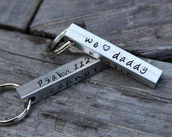 Custom Stamped 'We Love Daddy' Keychain in Aluminum - Perfect for Mother & Father's Day