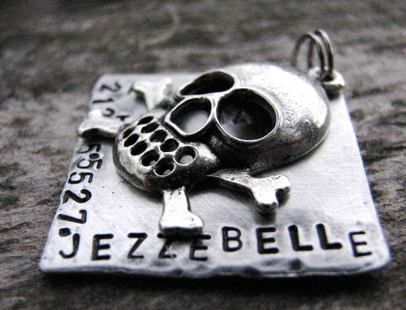 Custom Pet ID Tag, Jezzebelle, in 1'' Hand Stamped Aluminum
