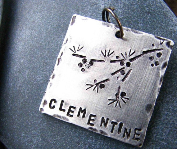 Custom Pet ID Tag, Clementine, in Hand Stamped Aluminum