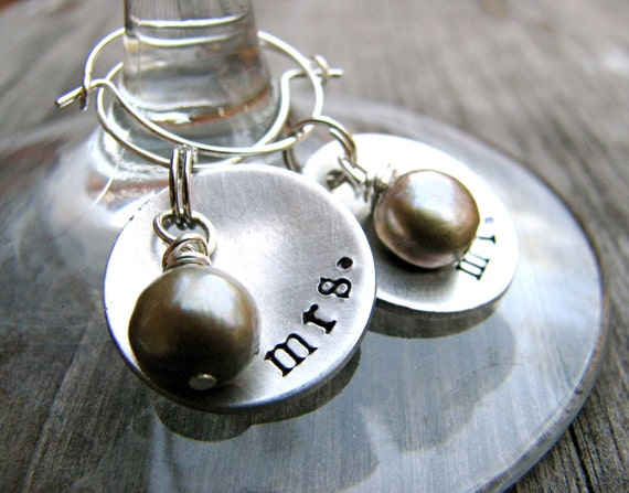 Mr & Mrs. Wine Charms, Perfect for Wedding Gift, Bridal Shower or Anniversary