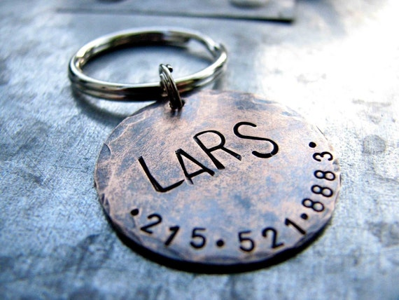 Custom Pet ID Tag, Lars, in 1'' Hammered Bronze