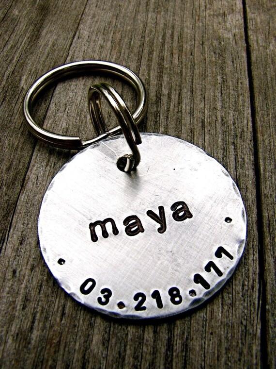 Pet ID Tag / Dog Tag- Maya - Custom 1.25'' in Brushed Aluminum