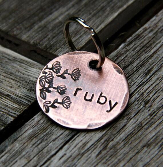 Custom Pet ID Tag, Ruby in 1'' Copper