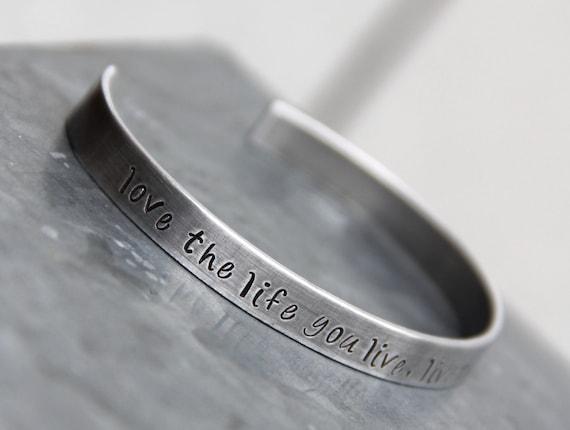 Custom Hand Stamped Cuff Bracelet in Bronze or Aluminum with Secret Message Inside