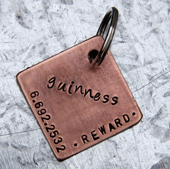Custom Personalized Pet ID Tag  in 1'' Brushed Copper