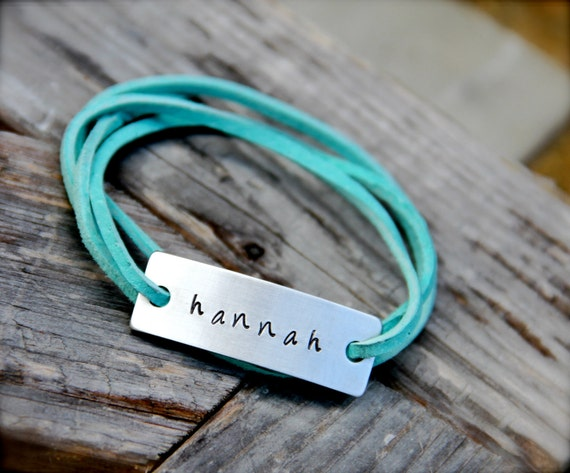 Custom Leather Wrap Bracelet in Hand Stamped Aluminum - Choose your Color