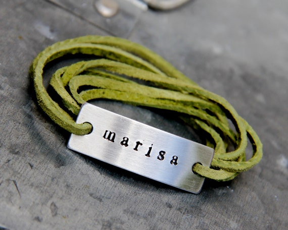Custom Suede Wrap Bracelet in Hand Stamped Aluminum - Choose your Color