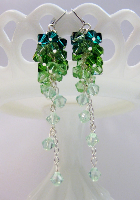 RESERVED FOR CASSIE - Emerald City Swarovski Crystal Earrings